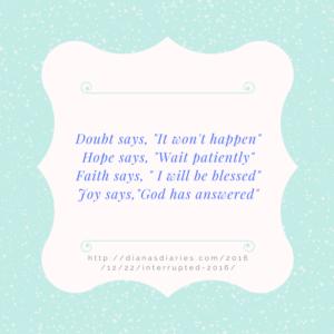 joy supercedes doubt