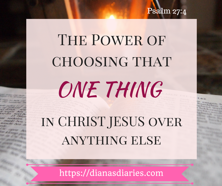 The Power of choosing that ONE THING over anything else in this world